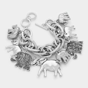 Antique Silver Elephant Toggle Charm Bracelet